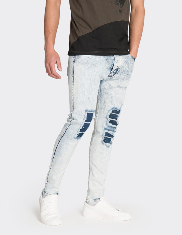 Light blue ripped tapered crop fit jeans