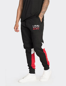 Black colour blocked joggers