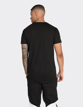 Load image into Gallery viewer, Black long length red stripe t-shirt