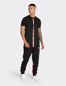 Black long length red stripe t-shirt