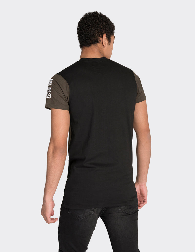 Black long length print t-shirt