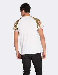 White camo print short sleeve T-Shirt