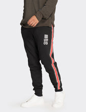 Load image into Gallery viewer, Black printed side stripe joggers
