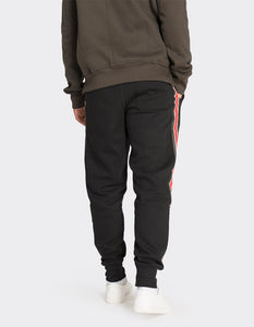 Black printed side stripe joggers