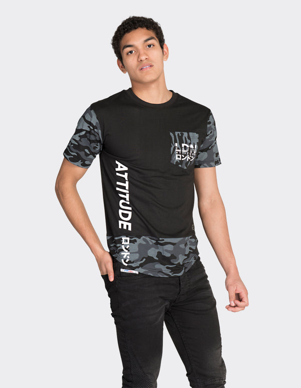 Black camo sleeve side print t-shirt