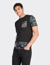 Load image into Gallery viewer, Black camo sleeve side print t-shirt