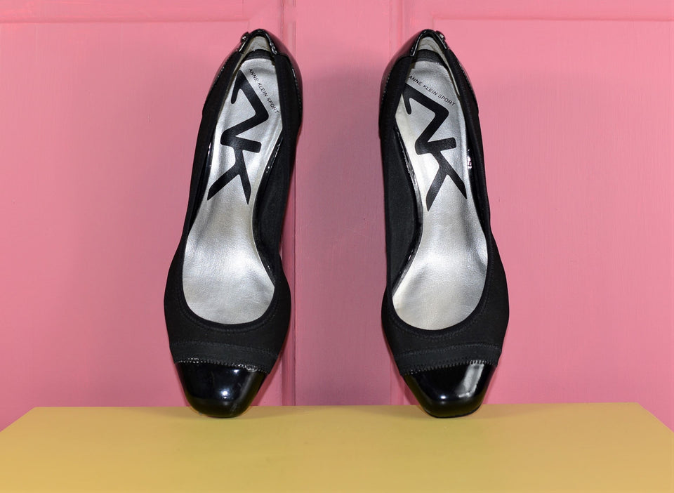 ANNE KLEIN Sport, Black Wedge Heels, Size 40. Pre-loved.