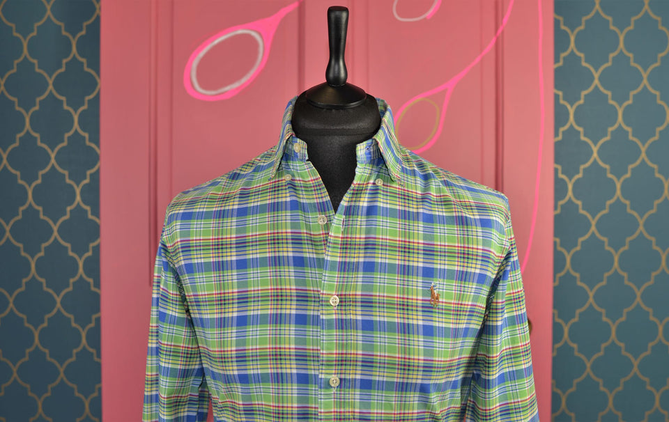 POLO by Ralph Lauren Men's Check Cotton Shirt, Green & Blue. Size S. Like new.