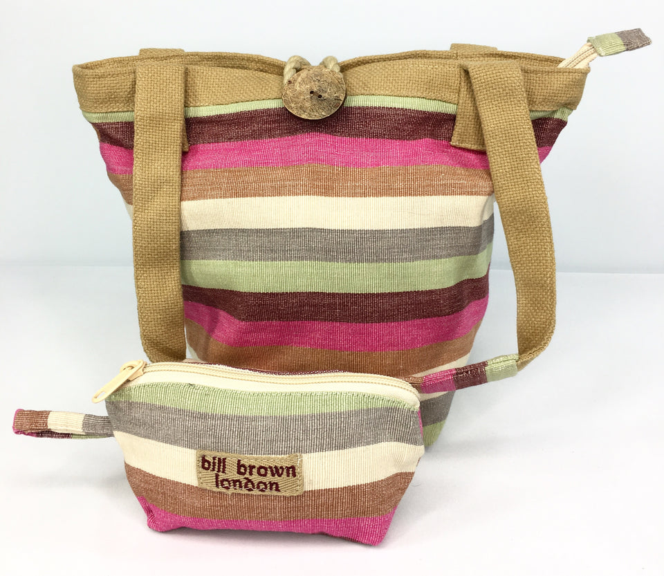 BILL BROWN London, Linen/Hessian Multi Colour Stripy Bag Duo, LIKE NEW