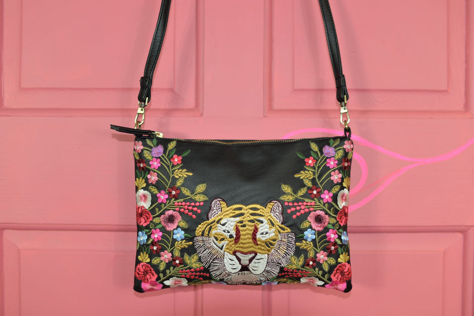 ACCESSORIZE Compact Black Bag With Embroidery Tiger. Pre-loved.