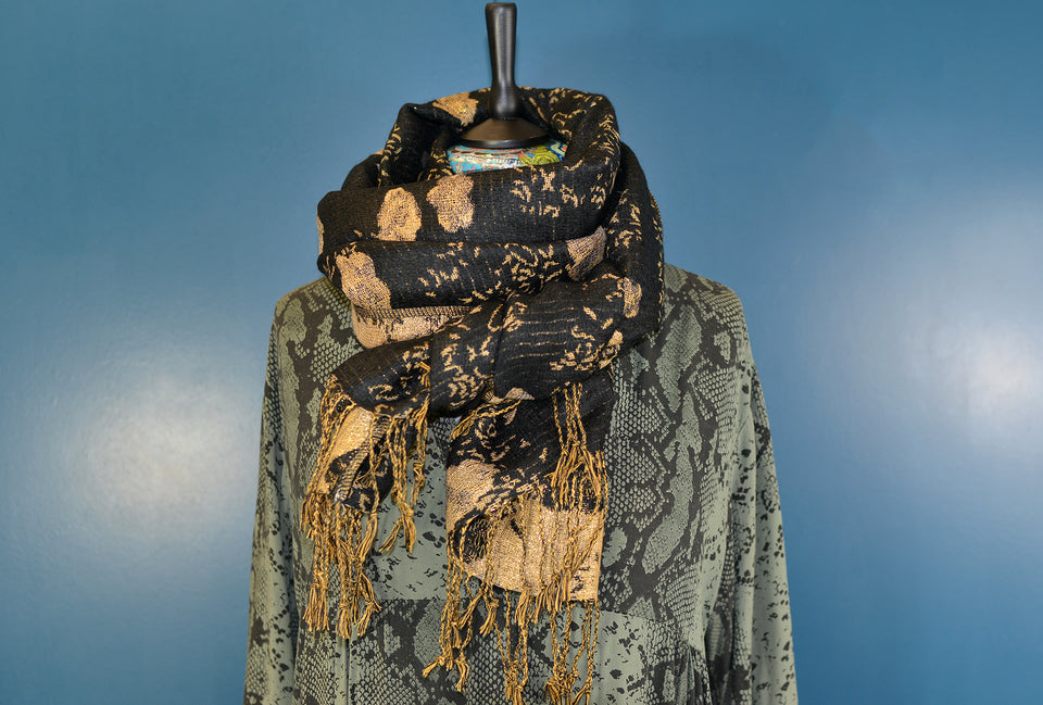 ADRIANA Large Wool and Silk Blend Black & Gold Scarf. New with Tags.
