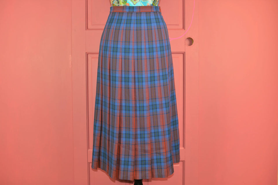 ALEXON Tartan Skirt Blue Orange British Wool Tartan Skirt, Size 12. Pre-loved.