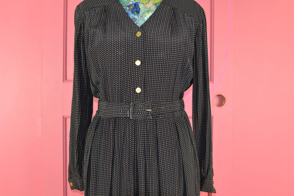 ANNA MAXWELL 80's Long Sleeve Midi Style Black Dress. Size 12. Pre-loved.