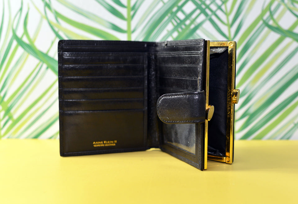ANNE KLEIN II Women's Black Leather Wallet/Purse. Vintage.