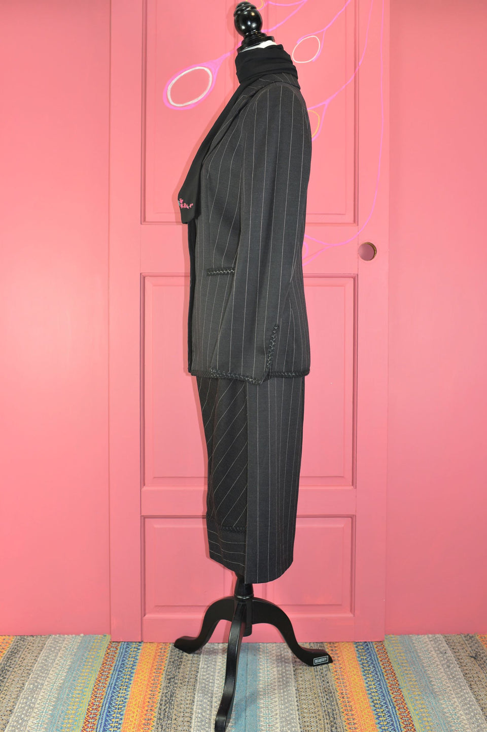 ANTONIO D'ERRICO Women's Black Wool Pinstripe Suit, Size 10. Pre-loved.