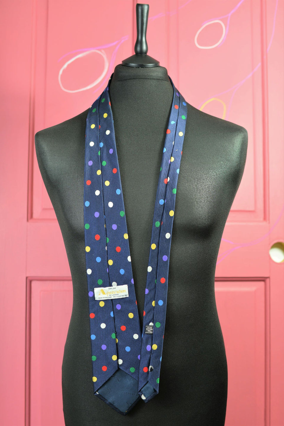 AQUASCUTUM Men's Pure Silk Multicolour Polka Dot Tie. Pre-loved.