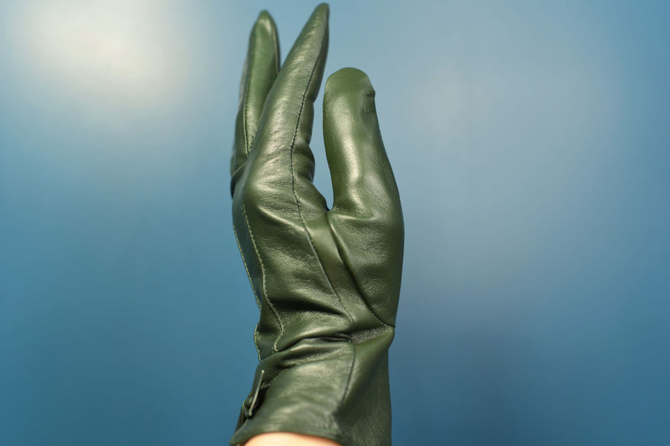 ASHWOOD Women's Dark Green Leather Gloves, Size S/M. New with tags.