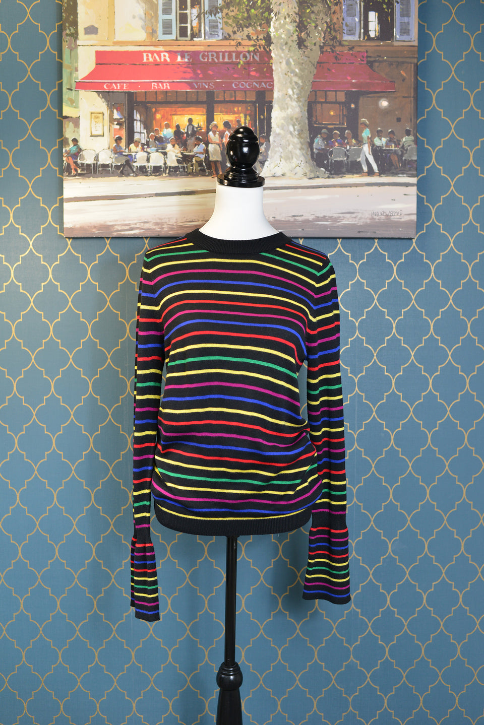 ASOS Women's/Girls' Black Stripy Jumper with Bell Sleeves. Size 10. Pre-loved