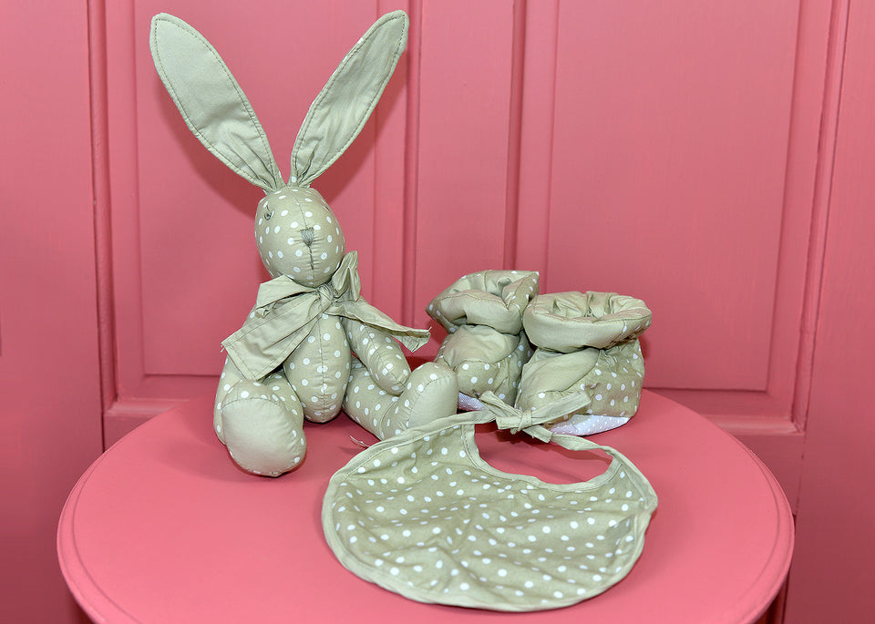 BUNNY & Booties & Bib Pastel Polka Dot Baby Gift Set. New.