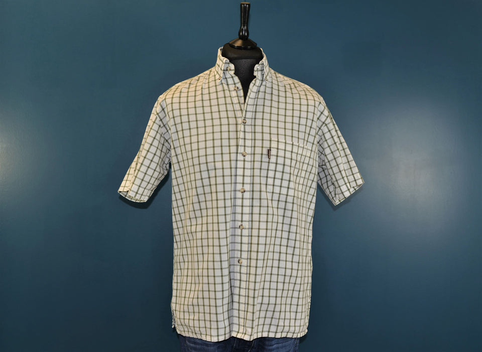 BARBOUR Men's Short Sleeve Shirt Check Cotton Olive Green, Size M. Pre-loved.