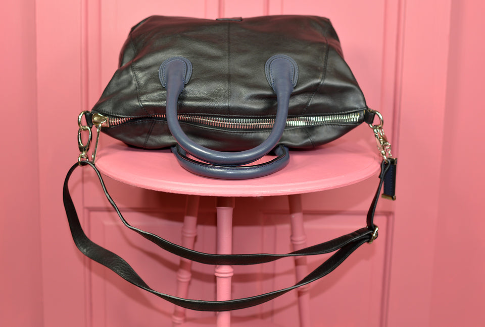 BETTY JACKSON BLACK Black Leather Handbag. Pre-loved.