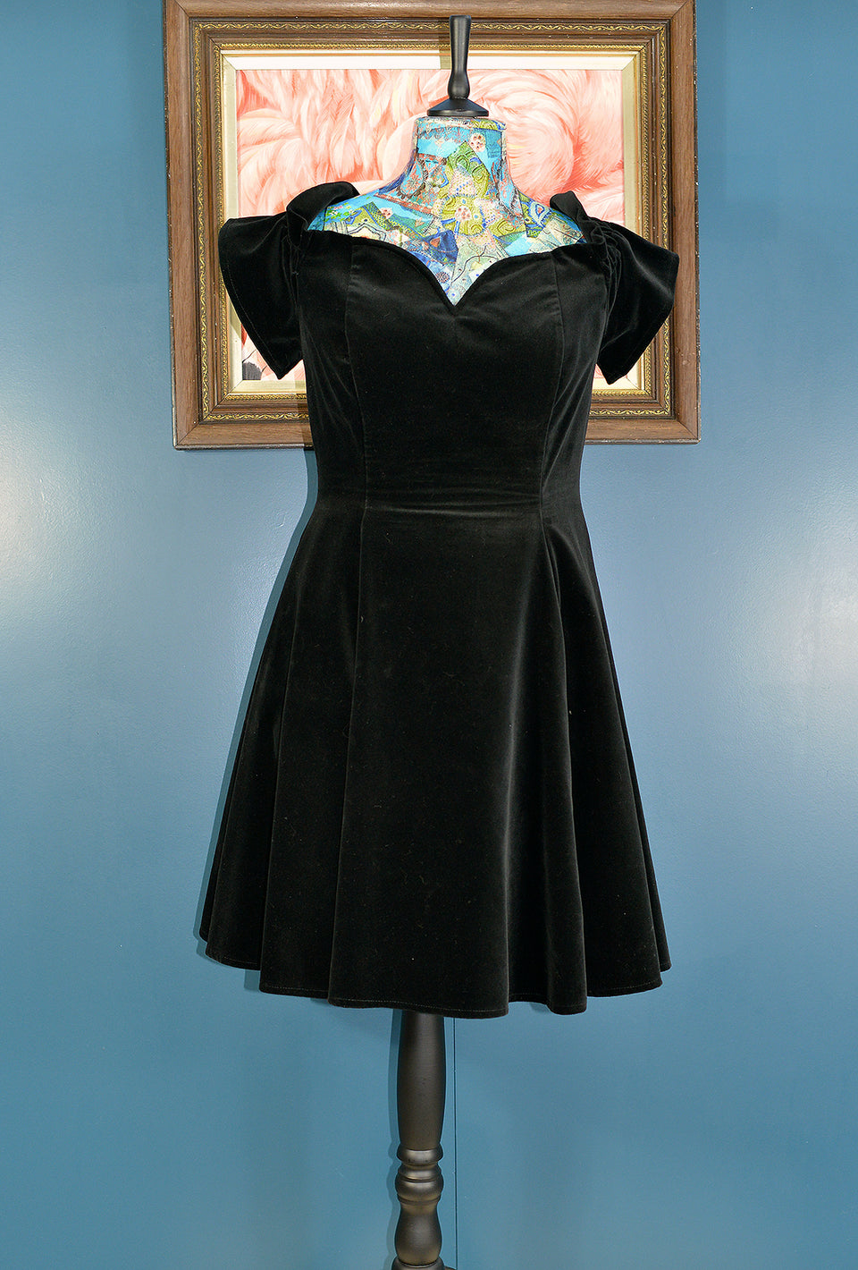 CLASSIC WOMAN Black Velvet Off-The-Shoulders Empire Midi Dress, Size 14. Pre-loved.