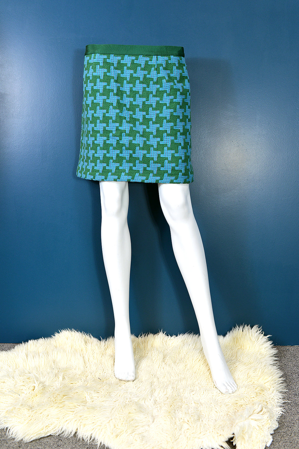 BODEN Women's Green and Blue Geometric Print Woollen Skirt. Size 12. Pre-Loved.