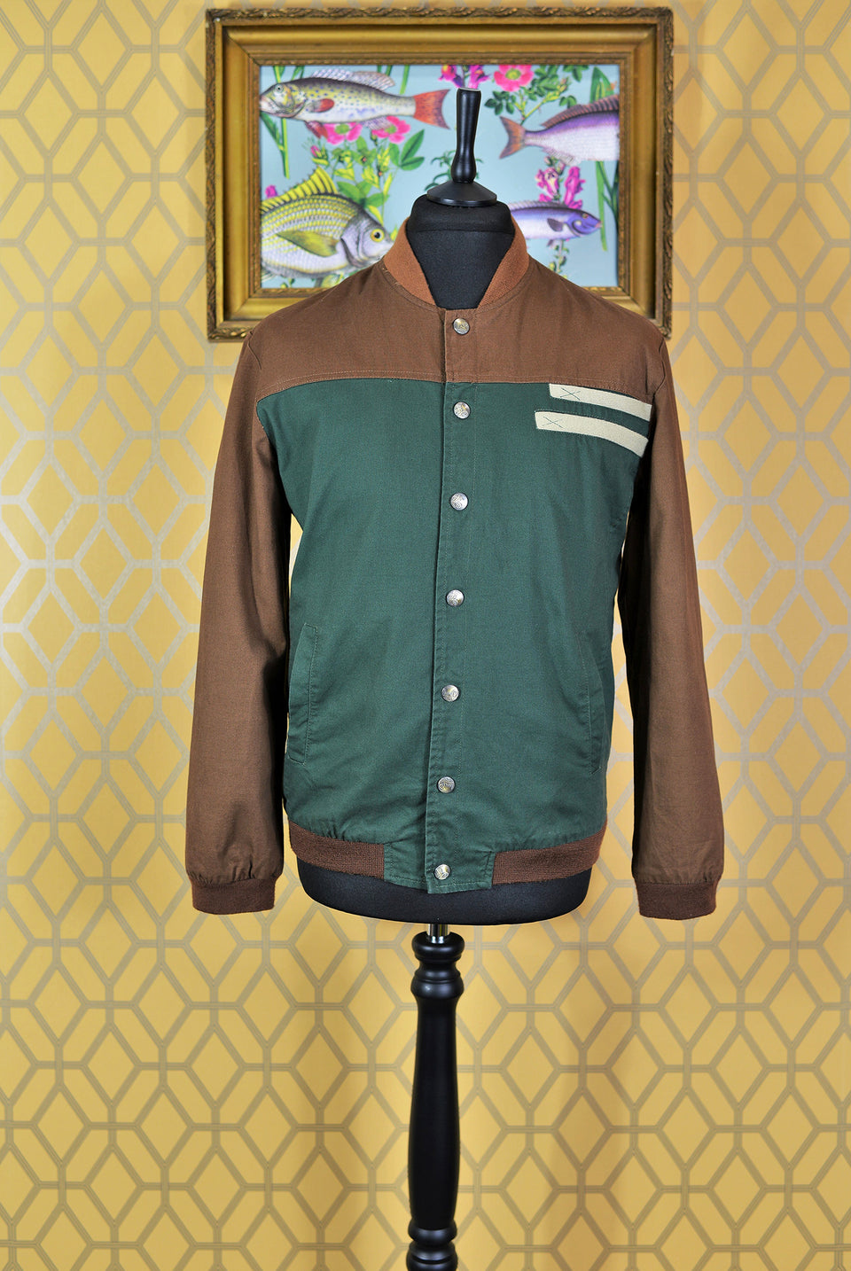 FASHION COLLECTION Men's Brown & Green Panel Bomber Jacket, Slim Fit Size 2XL. Pre-Loved.