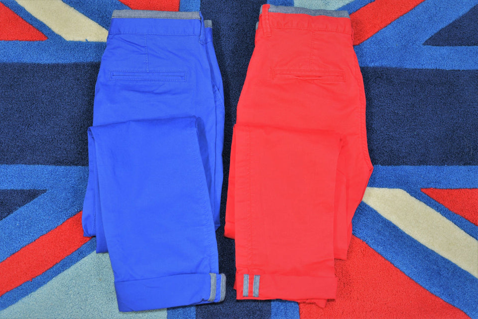 GAP Boys 2 x Cotton Skinny Stretch Trousers, Red & Blue, Size 12 Years. Pre-loved.