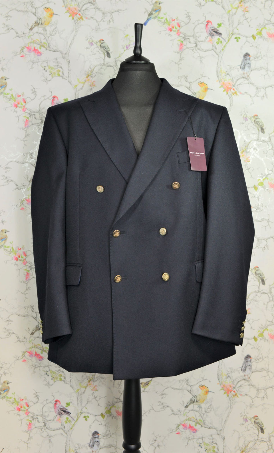 BROOK TAVERNER Men's Reigate Double Breasted Black/Navy Wool Blazer, Size 48''(60). NEW.