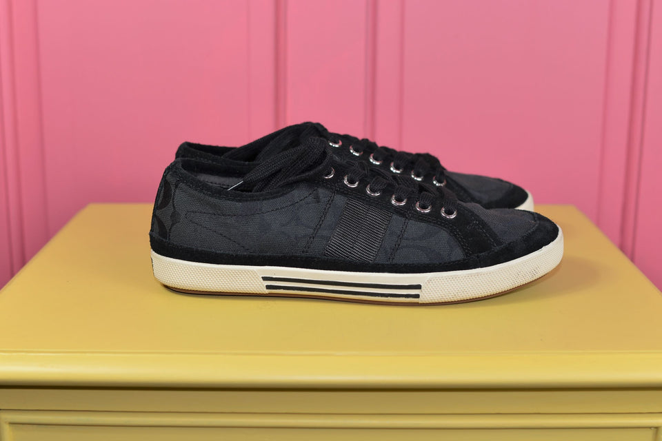 COACH New York 'Brad' Low Top Black Signature Canvas Sneakers, Size 40.5. Pre-loved.
