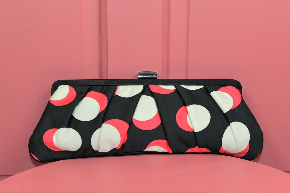 COAST Black & White & Pink Abstract Print Clutch Bag. New with Tags.