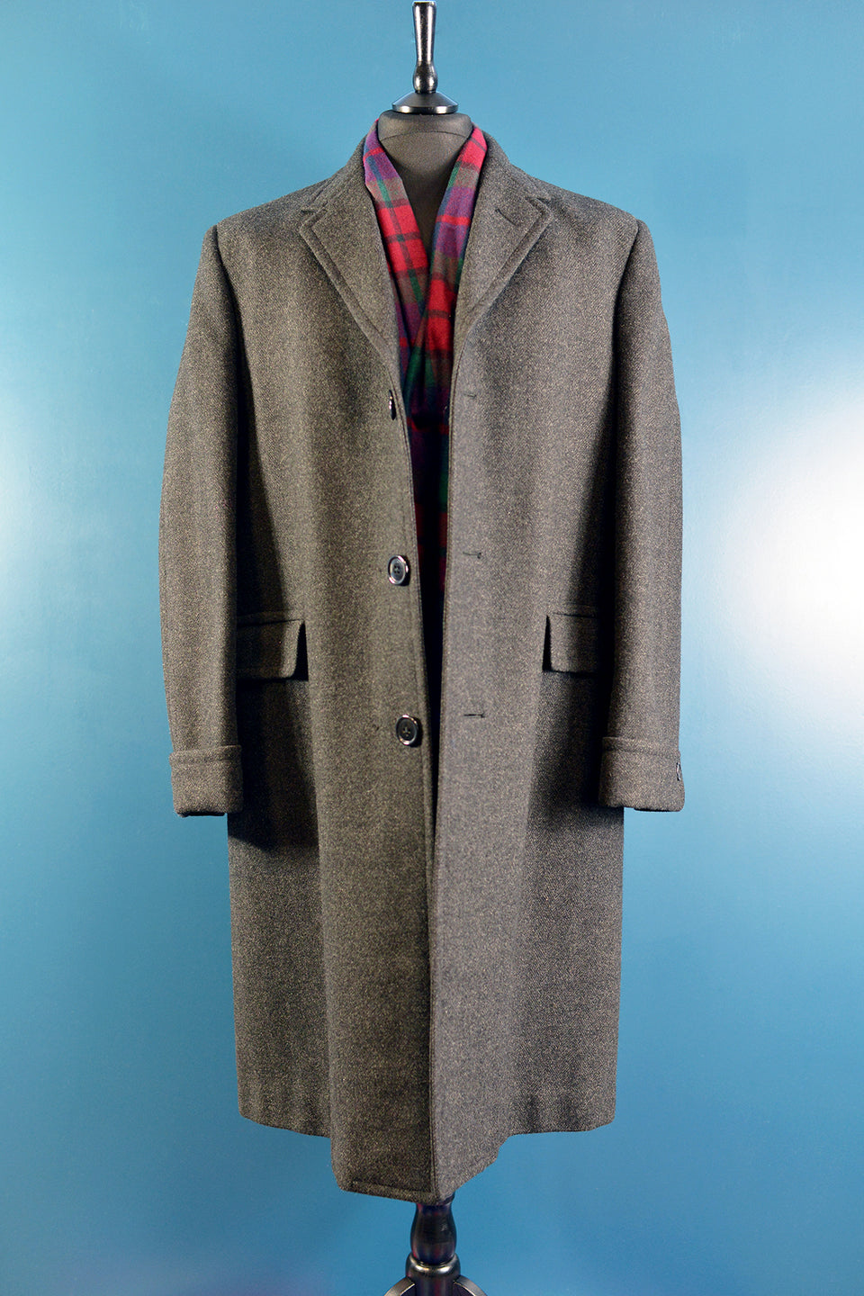 CROMBIE Men's Long Wool Charcoal Grey Overcoat, Size M/L. Pre-loved.