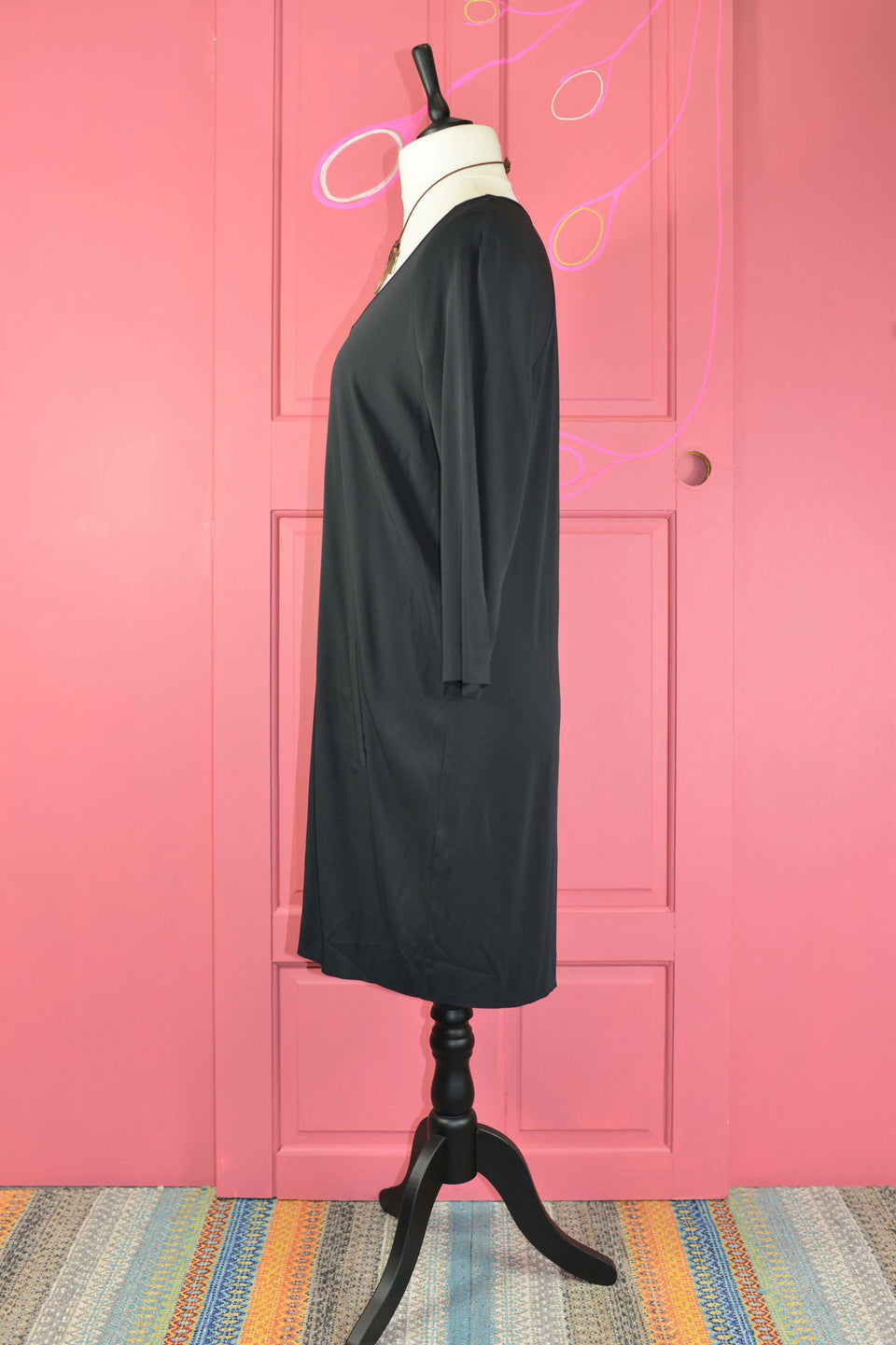 DAMSEL IN A DRESS Women's Black Shirt Dress with Pockets, Size 14. Pre-loved.