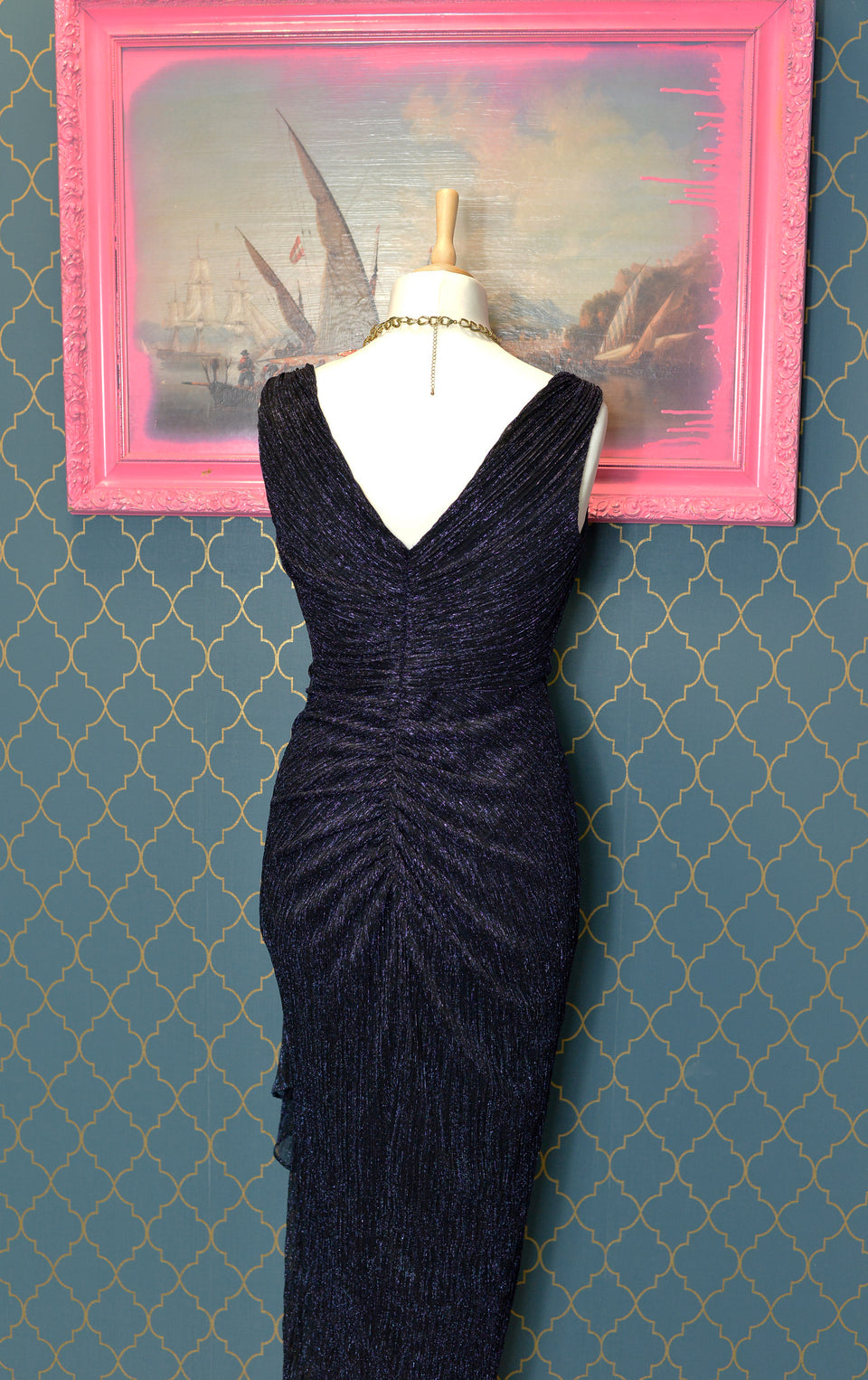 DEBUT Navy Shimmer Long Evening Dress, Size 12, Pre-Loved