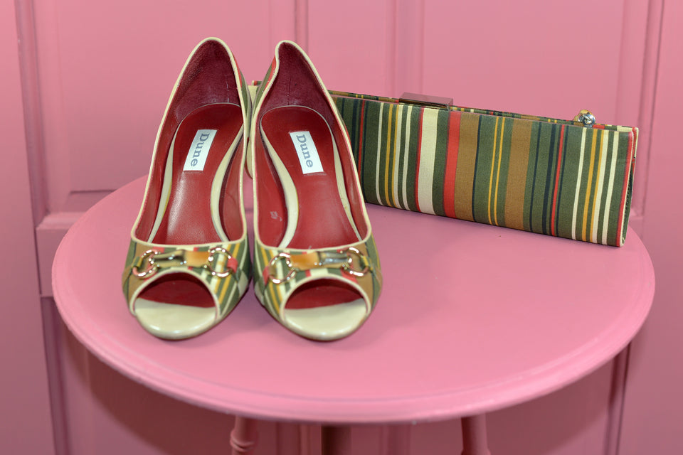 DUNE Multicoulour Stripes Women's Heels & Clutch Bag, Size 36. Pre-loved.