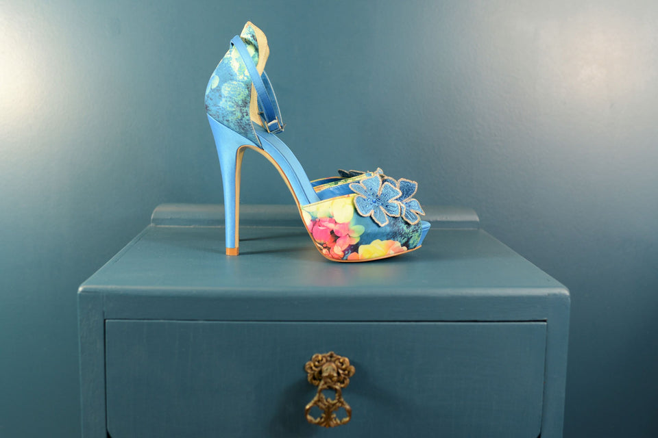 FAITH Blue Floral High Heels, Size 5 (38). Pre-loved.