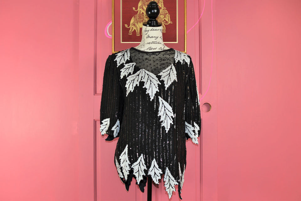 FRANK USHER Women's Black and White Sequined Silk Top, Size M. Pre-loved.