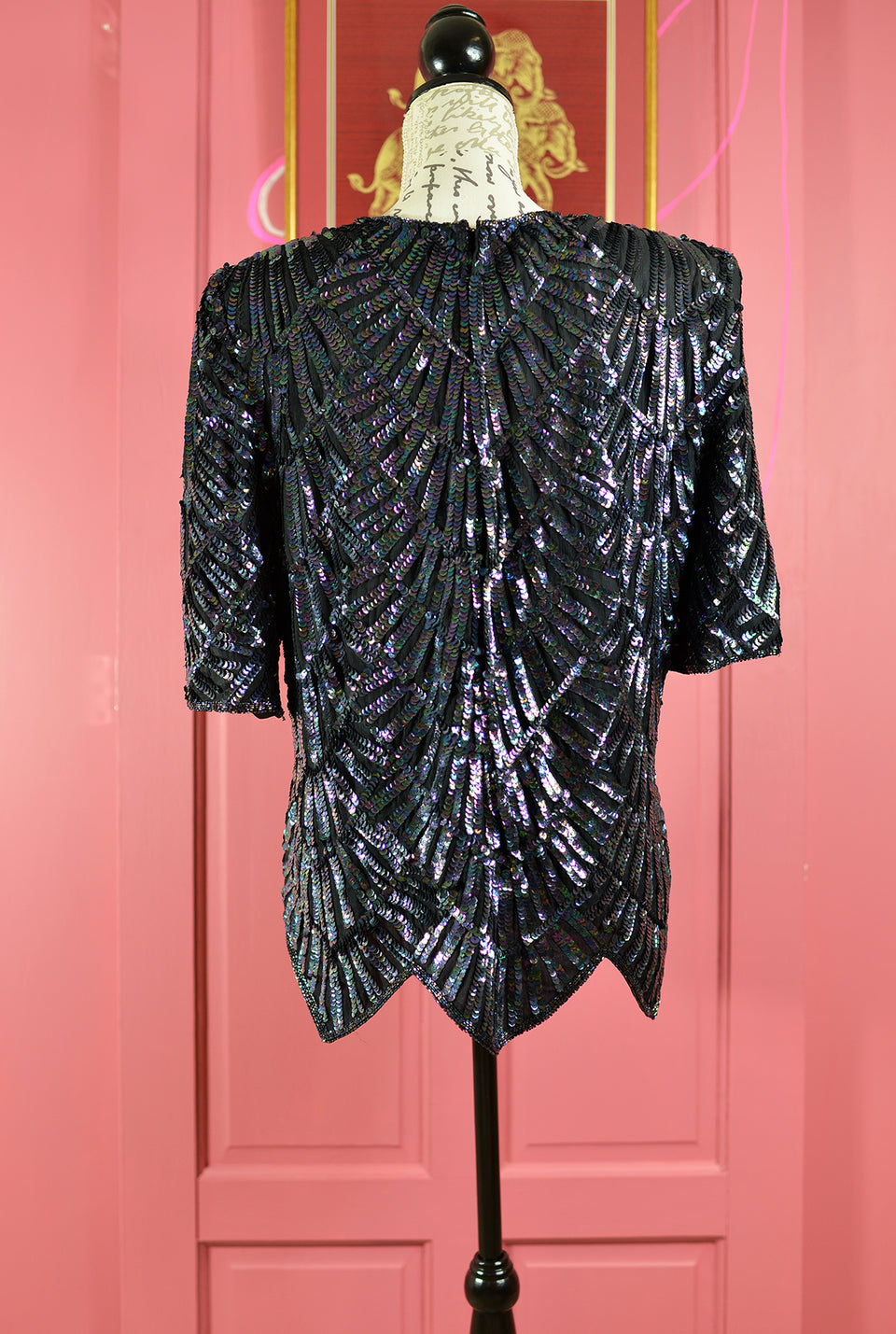 FRANK USHER 80's Art Deco Midnight Blue Silk Sequinned Top, Size M. Pre-loved.