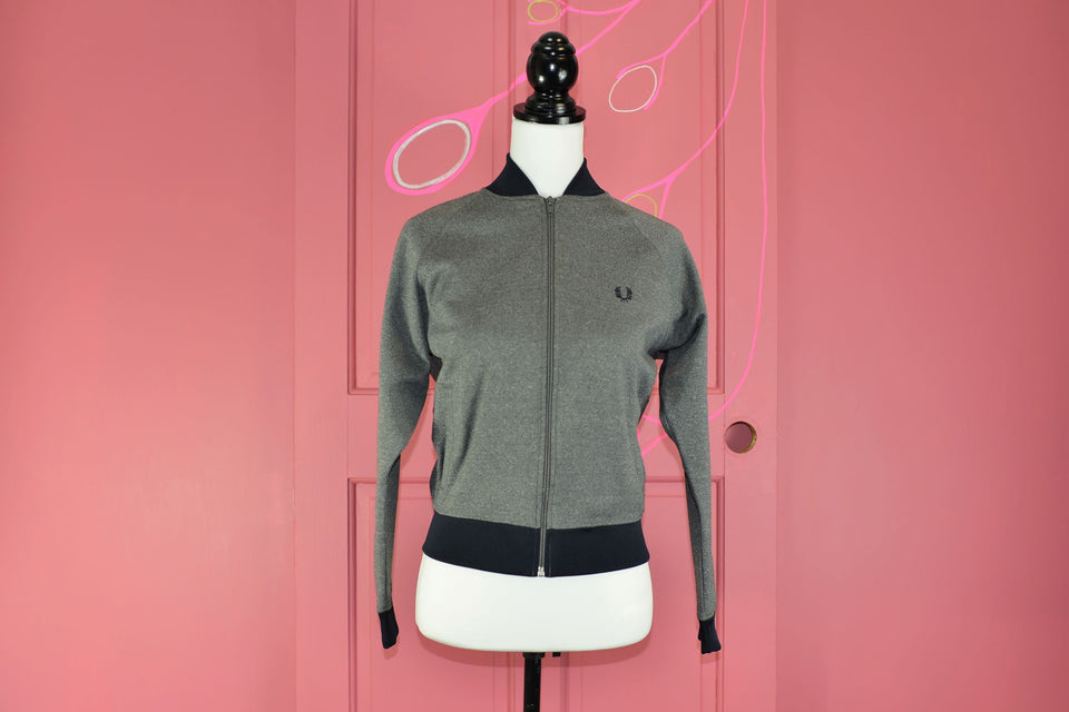 FRED PERRY Women's Zip Front Grey Jacket, Size M. Pre-loved.