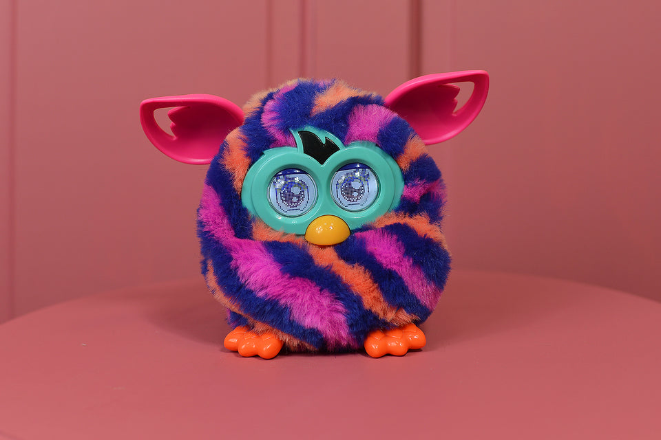 FURBY BOOM Sunny (Purple Rainbow) Vertical Stripes. Interactive Toy. Pre-loved.