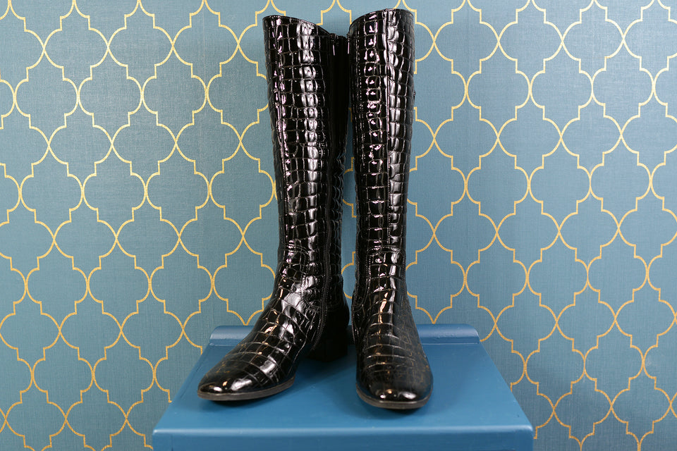 GABOR Women's Black Polished Leather Long Boots, Size 6.5. Pre-loved.