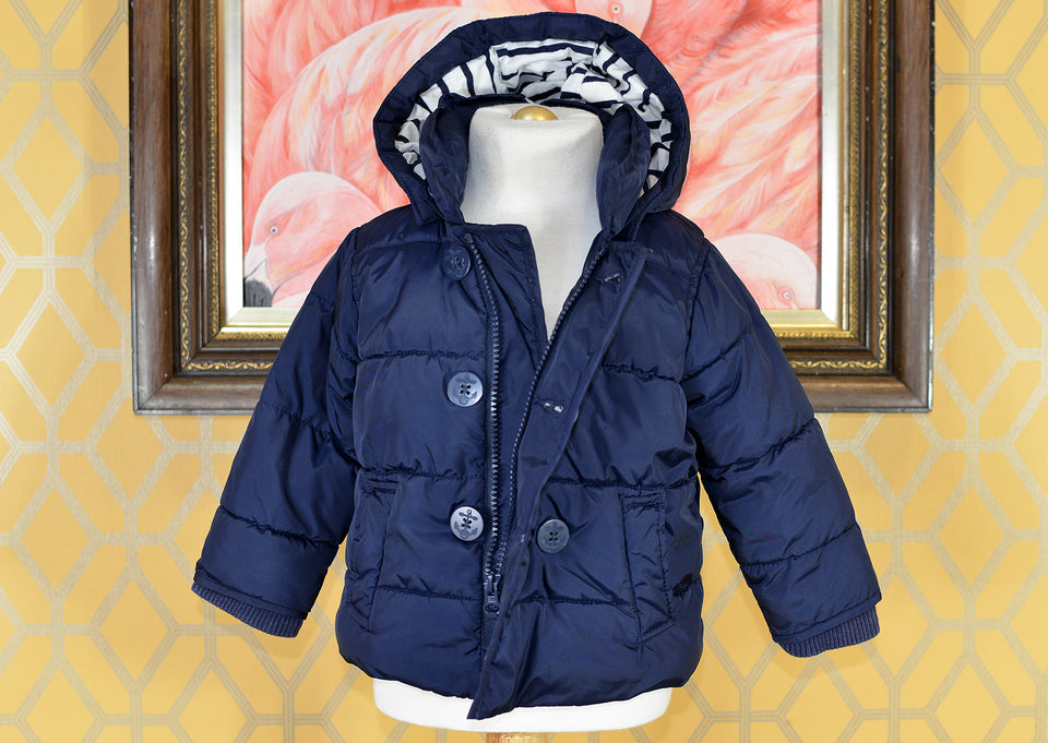 GAP Baby Boys Warm Winter Navy Blue Hooded Coat, Size 18-24 Months. Pre-loved