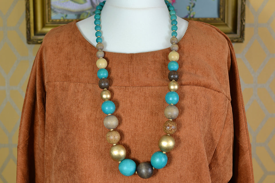 Large Turquoise & Gold Wooden Beads Necklace. Pre-loved.
