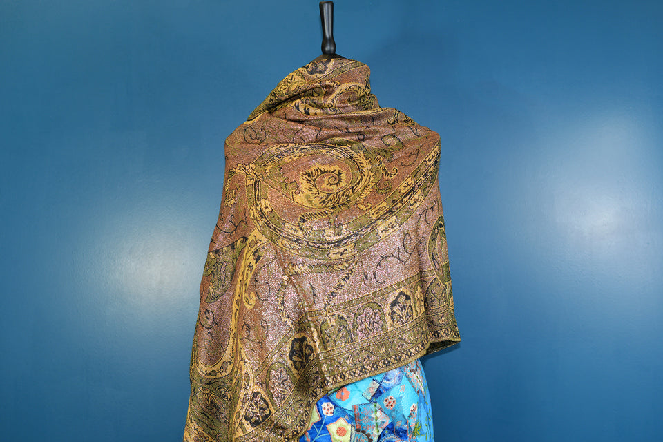 PASHMINA Large Golden & Brown & Green Tones Shawl. Like New.