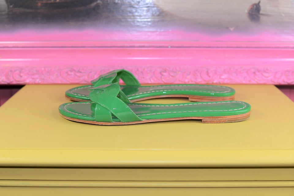 BODEN Women's Green Patent Summer Slip on Shoes, Size 39. Pre-loved.