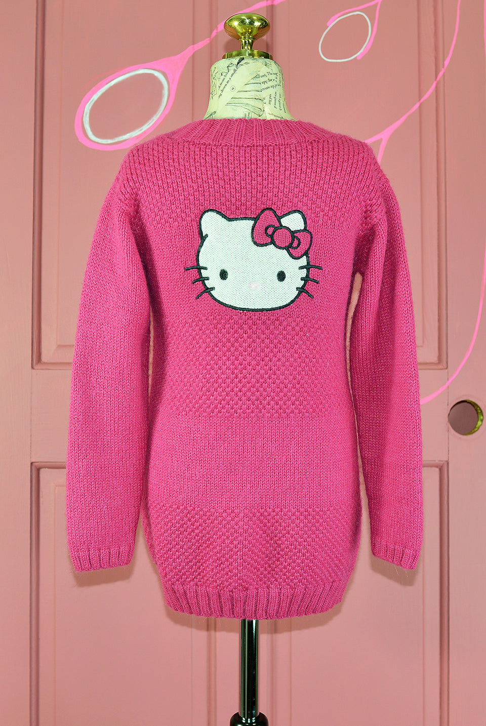 Sanrio HELLO KITTY Girls Long Pink Knitted Cardigan, Size 6 Years. Pre-loved.