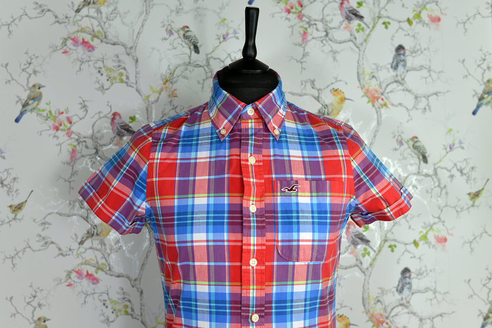 HOLLISTER Men's Multicolour Check Shirt, Size S. Pre-loved.