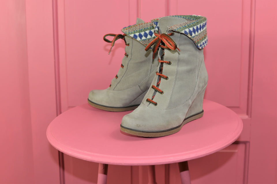 ANTHROPOLOGIE Holding Horses Grey Suede Women's Ankle Boots, Size 36. Pre-loved.