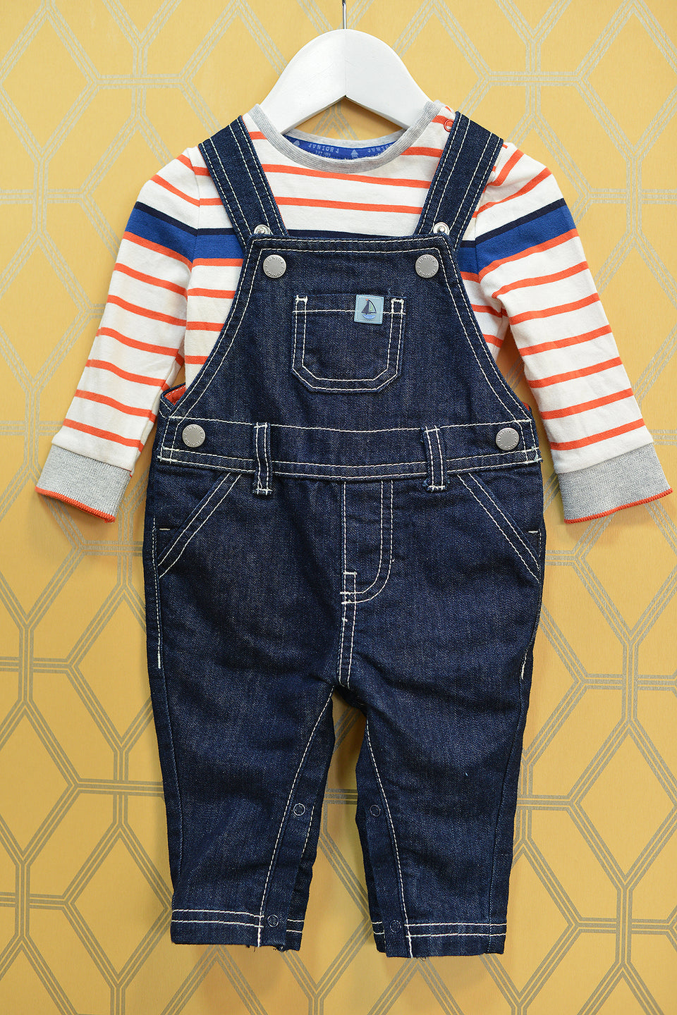 JASPER CONRAN Junior Boys Nautical Top & Dungaree Set, Size 3-6 Months. New with tags.